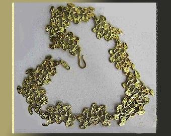 ANNE DICK Organic Blob Links Brutalist Bronze Modernist Necklace,Hook Clasp,Signed,Vintage Jewelry,Women