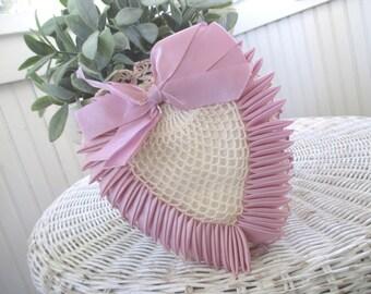 Vintage Crocheted Heart Pin Cushion * Handmade * Sachet * Shabby Cottage * Lavender Ribbon