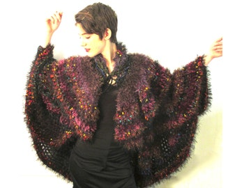 BASIA DESIGNS Hand Crochet Multi Yarn and Color Circle Coat - Free U.S. Shipping