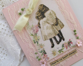 Sister Card, Handmade Card, Embellished Card, Unique Blank Greeting Card, Womens Gift  Card , Mixed Media Art Card