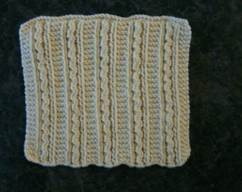 Hand Knit Dishcloth - measures approximately 8x9 inches - Pale Yellow Color