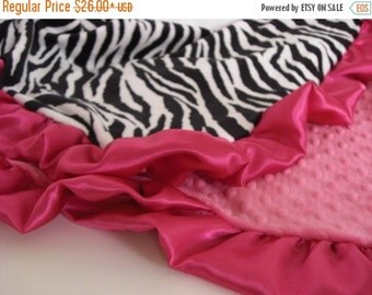 ON SALE Fuschia and Zebra Minky Blanket  for Baby, Toddler, or Adult