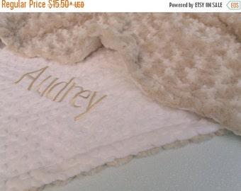 ON SALE Caramel Rose Swirl and Ivory Cream Minky Baby Blanket