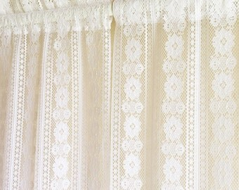 Vintage White Lace Curtains Long Floral 3 Available FREE SHIPPING