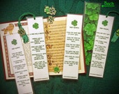 Handmade Irish Blessing Prayer Laminated Photo Bookmark w/ Enamel Shamrock Charm