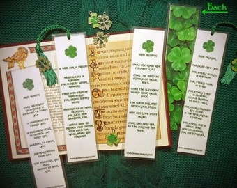 Handmade Irish Blessing Prayer Laminated Photo Bookmark w/ Enamel Shamrock Charm