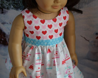 18 inch Doll Clothes - Tweet Hearts Colorblock Dress - AQUA PINK WHITE - Valentine's Day - Love Birds - Bird Cage - fits American Girl
