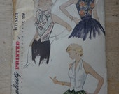 1940s Vintage Sleeveless and Halter Top Sewing Pattern, Simplicity 3559, bust 30