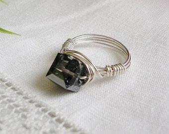 Crystal Night Dark Gray Swarovski Crystal and Sterling Wire Ring, Metallic Crystal Ring