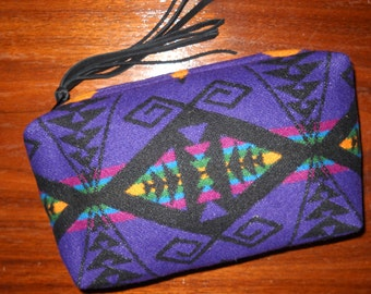 Wool Clutch Unlined / Travel Bag / Cosmetic Bag / Makeup Bag XXL Wool Southwestern Tribal Handcrafted From Pendleton Woolen Mill Fabric