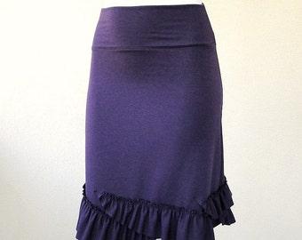 Knee long skirt, stretch knit skirt, day skirt, purple skirt, handmade skirt, organic cotton clothes, skirt with ruffles.