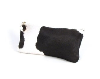 Black and White HairCalf Clutch ~ Black and White Hair on Hide Clutch ~ Black Cowhide Clutch ~ Black leather clutch ~ Spotted Black Clutch