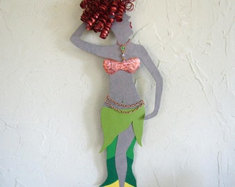 Metal Art Wall Sculpture Belly Dancer Lime Green Red Head Recycled Metal Wall Art 8 x 20 Made To Order