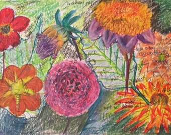 "32""x20"" oil pastel of Dahlias"