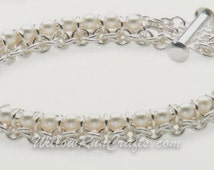 Spine of the Centipede Bracelet Chain Maille Kit-White Pearl Chain Maille Bracelet Kit