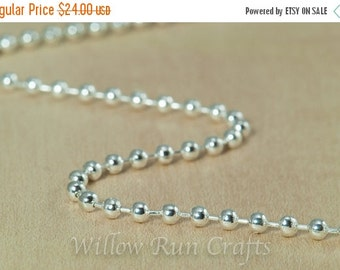 ON SALE 50 High Quality Shiny Silver Plated Metal Ball Chain 2.4mm with Connectors 24 inch Chain (15-40-262)
