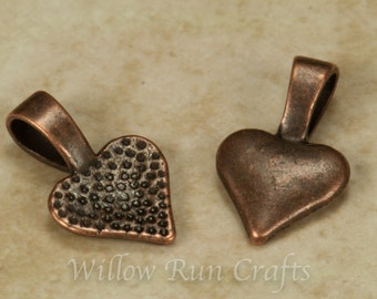 25 Small Antique Copper Heart Bails, Necklace Bails (07-06-320)