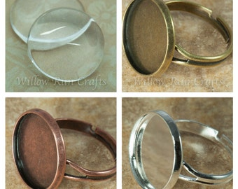 10 pcs 16mm Circle Ring Blanks with  10 Glass Cabochons, Adjustable, Shiny Silver, Bronze and Antique Copper, Blank Cabochon Setting