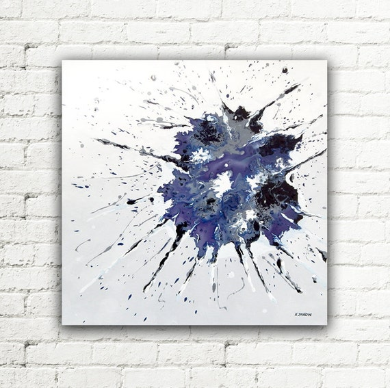 Abstract art blue painting 20x20 canvas wall art living room for 20x20 living room