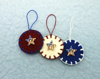 Hand Sewn Mini Patriotic Ornaments with Porcelain Buttons- Set of 3
