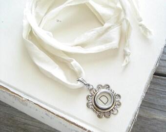 Typewriter Key Necklace. Letter D Necklace. Vintage Typewriter Key Jewelry. Long Boho Sari Silk Ribbon Necklace. Upcycled Eco Friendly Gift.