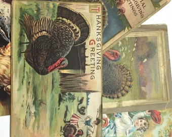 Vintage Thanksgiving Postcards, Vintage Postcards, Damaged Postcards, Ephemera, Art Supplies, Craft Supply, Thanksgiving Crafts, Group E