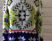 Vintage 1970s UGLY CHRISTMAS Bright Colors SNOWFLAKE Sweater Med to Large