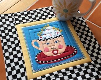 Coffee fabric - Coffee Talk - Mug Rug or Candle Mat  Oversized Coaster
