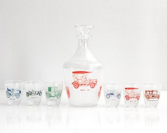 Vintage Classic Cars Shot Glasses and Decanter Set from France / Antique Automobiles Liquor Set