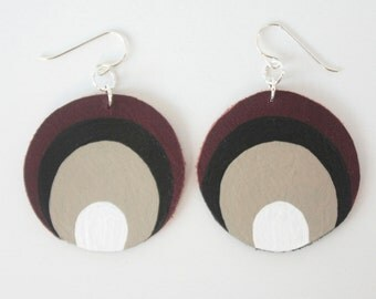 Leather Butterfly Spot Earrings - Brown Leather with Sterling Silver