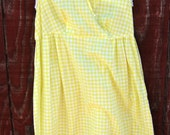 Beverly - lemon gingham dress XS S