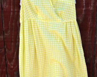Beverly - lemon gingham dress XS S