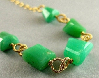 End Of Summer Sale Chrysoprase and Gold Necklace