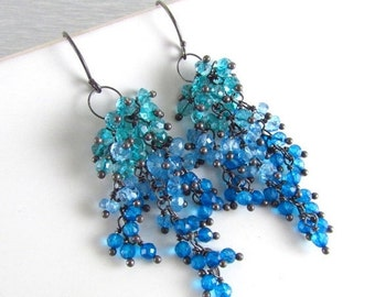 20 % Off Apatite And Quartz Sterling Silver Cluster Earrings - Waterfall