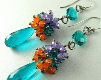 BIGGEST SALE EVER Teal Blue Quartz, Purple Zircon and Carnelian Wire Wrapped Earrings