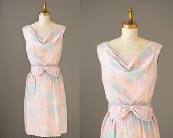 Adele Simpson Dress   vintage 1950s silk dress   50s op art pastel print curvy dress