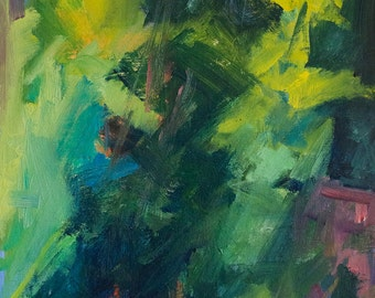 Pines Abstract GICLEE ART PRINT 11 x 17 landscape green aqua red
