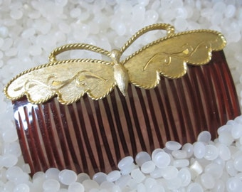 vintage hair comb  sweet butterfly , hair comb ,gold butterfly, steampunk style,