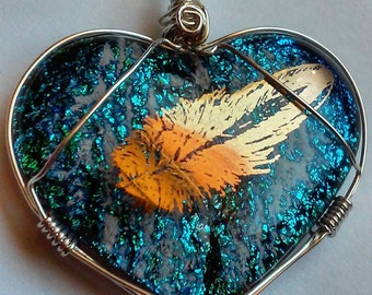 Cremation Jewelry Heart 22k Gold Luster Feather Dichroic Glass Ashes Infused Memorial Pendant Sterling Silver Urn Pet