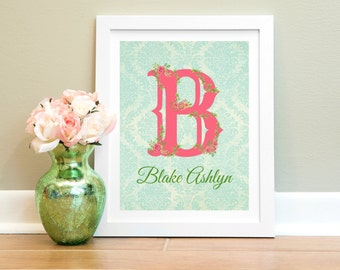 Personalized Nursery Print, Baby Girl Nursery Wall Decor, Custom Baby Gift, Nursery Art, Child Wall Art, Coral Teal Pink Nursery Decor Girl