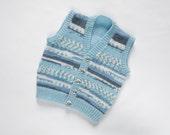 Boys Waistcoat - Little boy blue. Hand Knit Waistcoat. Hand Knit Childrenswear.