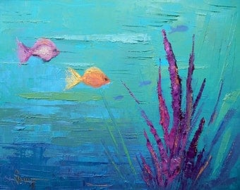 "Seascape Oil Painting, Underwater Scene, Textured Oil Painting, 11x14x1.5"" Painting on Canvas, No Frame Required"