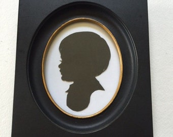 Vintage Frame that includes YOUR Custom 4x5 inch Hand Cut Silhouette Portrait