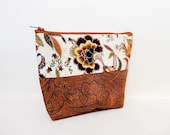 Zipper Pouch, Fabric Pouch, Medium Pouch, Cosmetic Bag, Coin Purse, Toiletry Bag, Bag, Clutch, Flowers and Paisley in Fall Golds and Browns