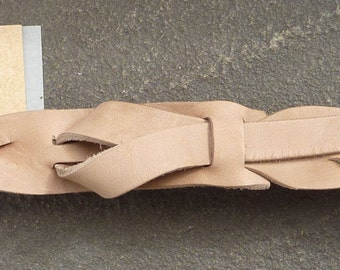 Safari Braid Skinny Leather Belt in Taupe by Muse 1 inch