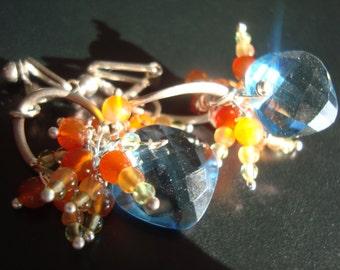 Earrings blue quartz, chalcedony and orange peridot