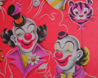 Vintage 1950s Gift Wrap Clown Faces -2 Sheets of  Vintage Wrapping Paper