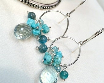 SUMMER SALE Silver Hoop Earrings Gemstone Wire Wrapped  Silver Teal Quartz, Turquoise, Apatite, Blue Green Earrings, All in One Hoop Everyda