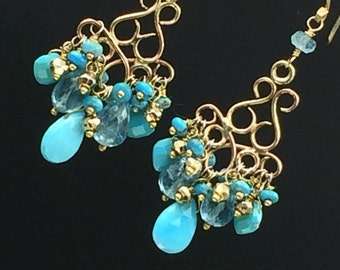 Turquoise Chandelier Earring Turquoise Wire Wrap 14k Gold Fill Sleeping Beauty Turquoise Apatite Pyrite Handmade Chandelier Boho Chic