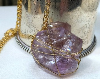 50% SALE Amethyst Necklace Wire Wrap Caged Pendant Gold Fill Y Necklace Gold Lavender Gemstone Dangle Necklace Minimalist Jewelry Layering Y